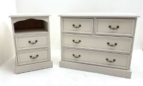 White finish small chest fitted with two short and two long drawers (W87cm