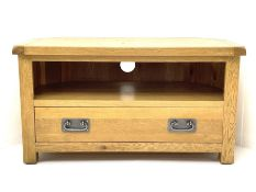 Light oak corner television stand fitted with single drawer