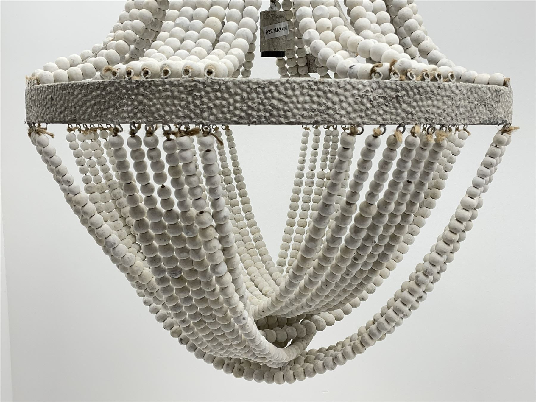 White painted beadwork basket chandelier - Image 3 of 4
