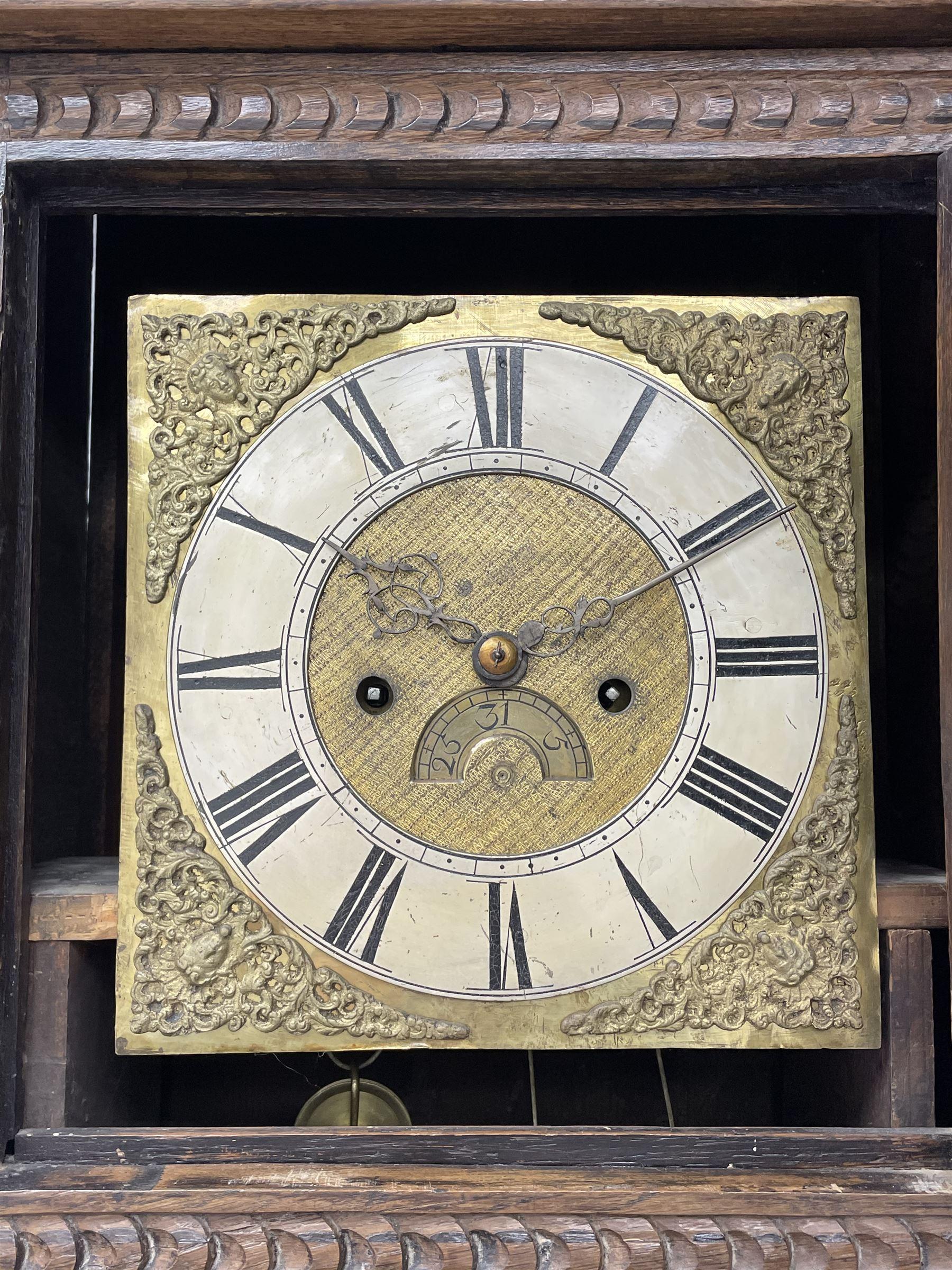 19th century carved oak longcase clock - Image 2 of 10