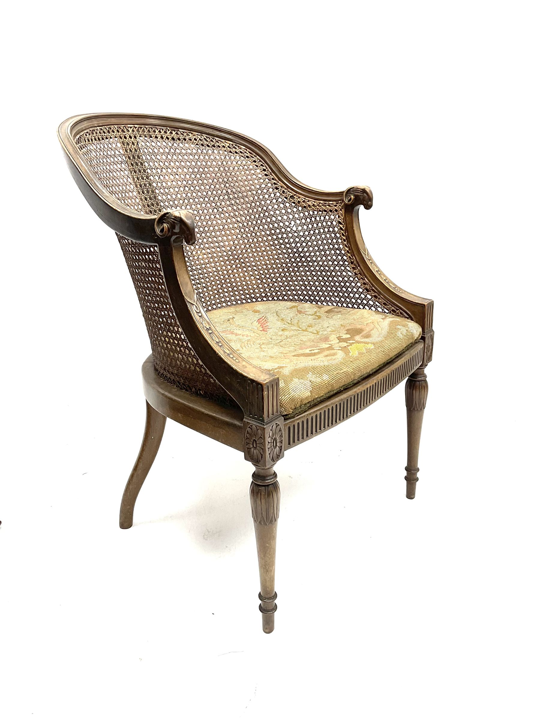 Early 20th century walnut Berg�re chair - Image 2 of 3