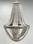 White painted beadwork basket chandelier