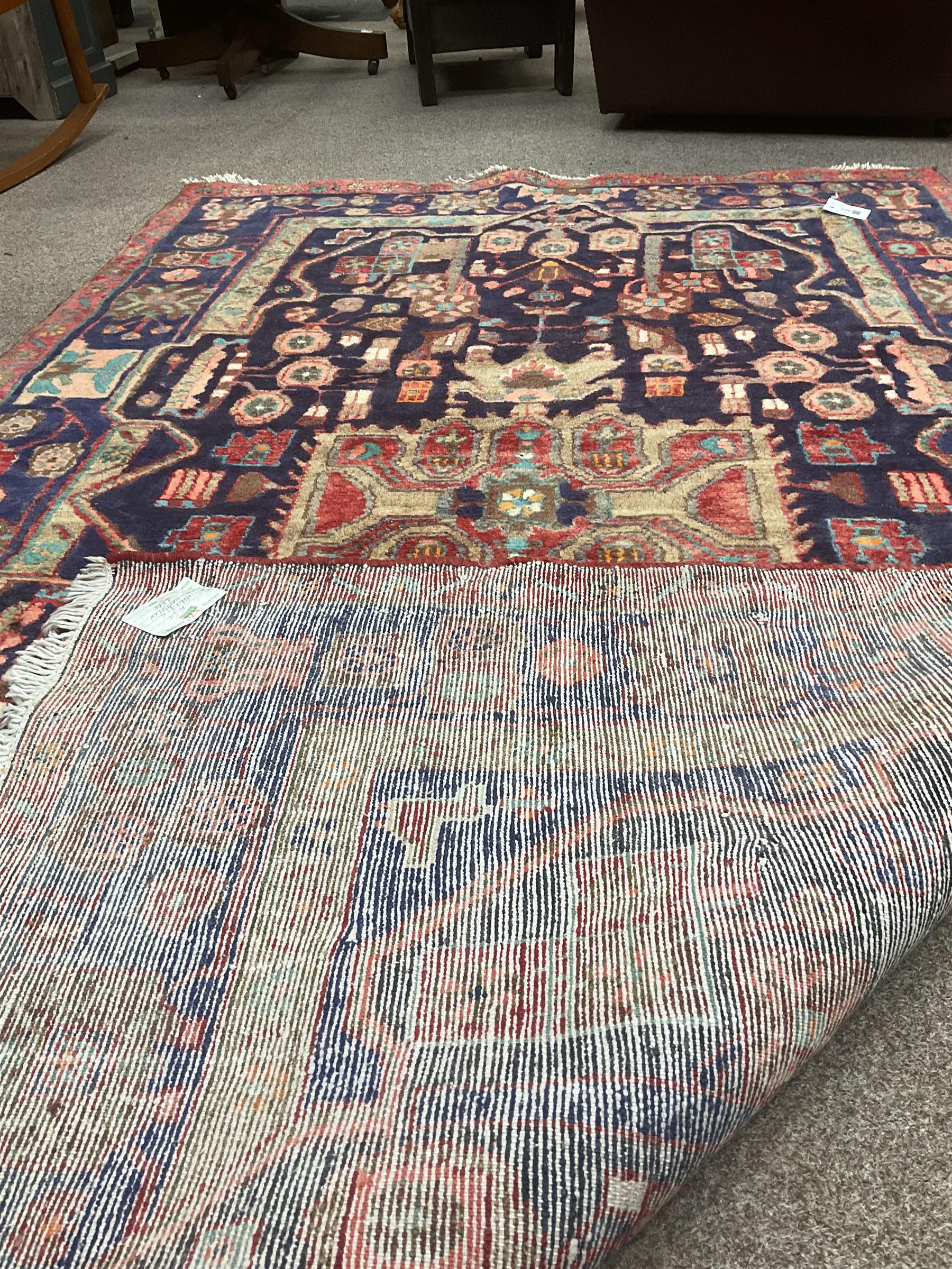 Persian Hamadan blue ground rug - Image 4 of 4