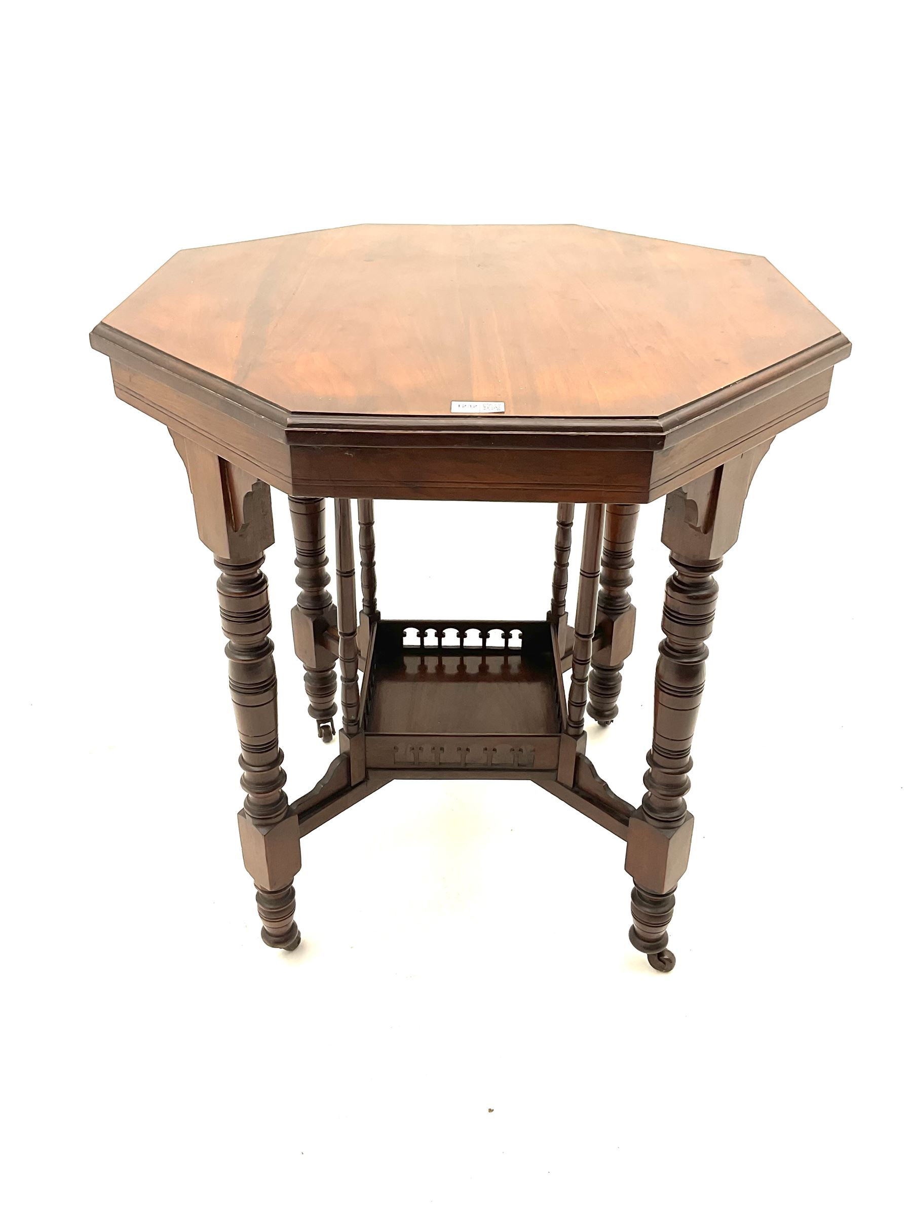 Early 20th century walnut octagonal occasional table - Image 2 of 2