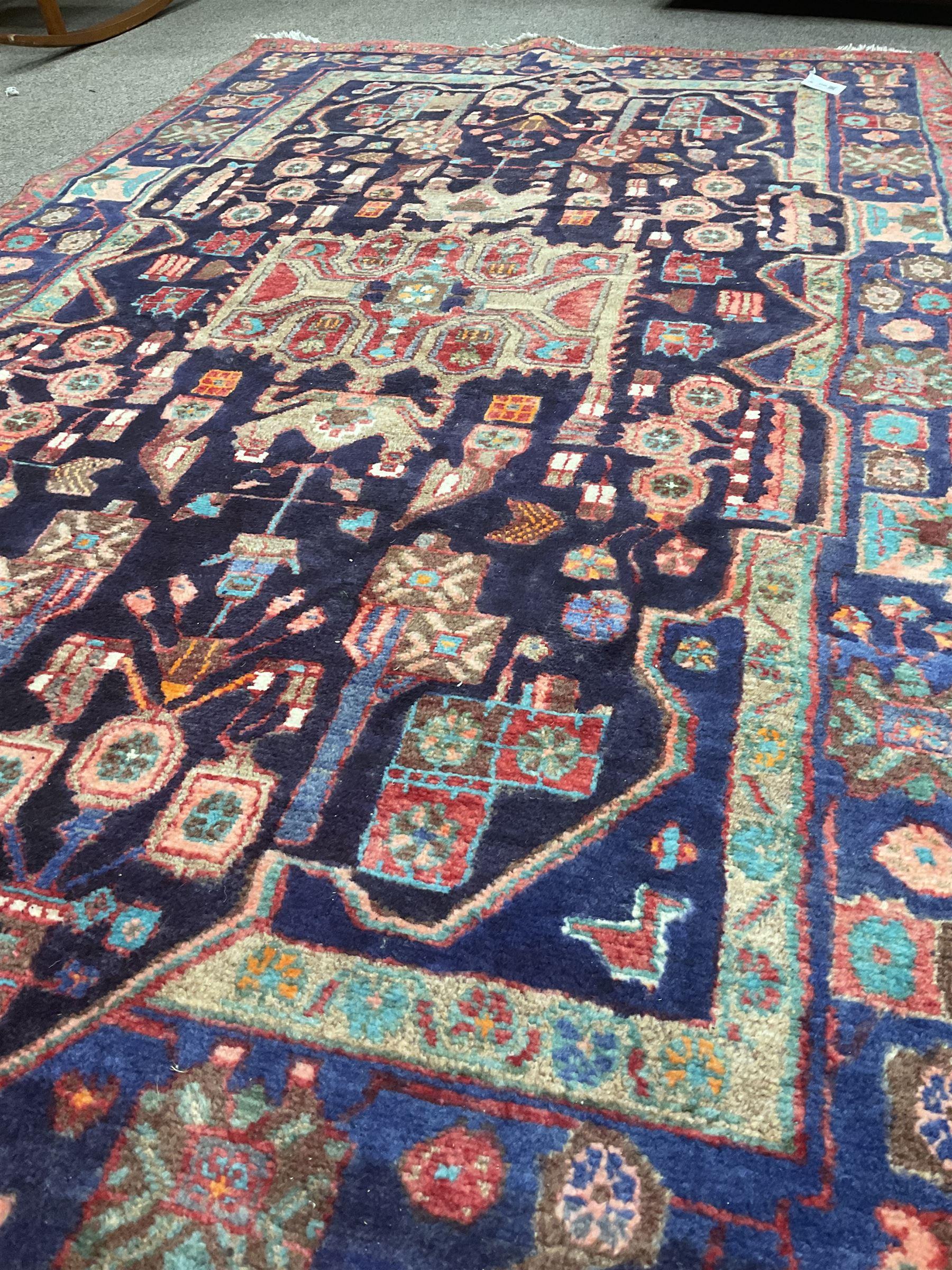 Persian Hamadan blue ground rug - Image 3 of 4