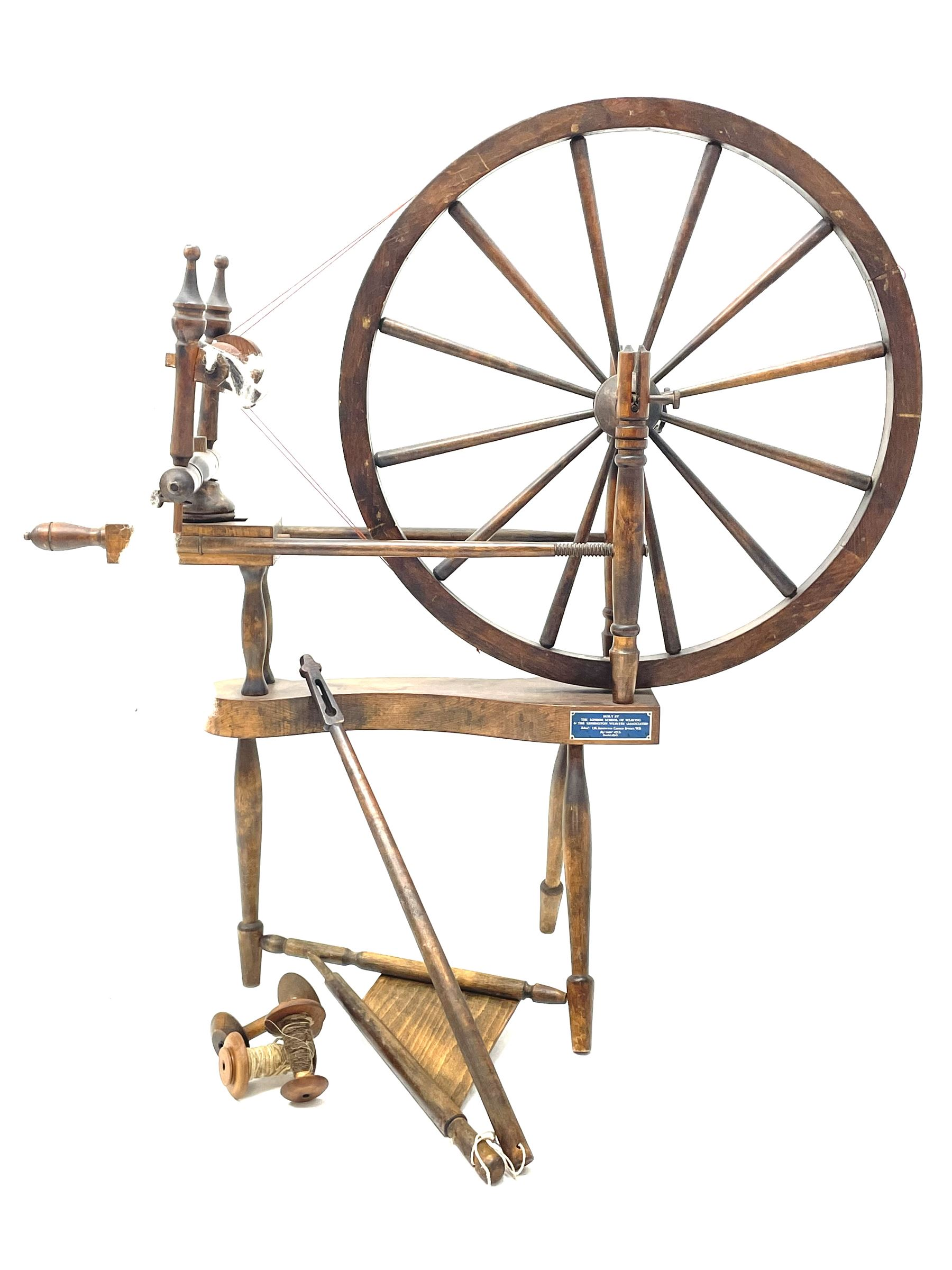 Early 20th century stained beech spinning wheel