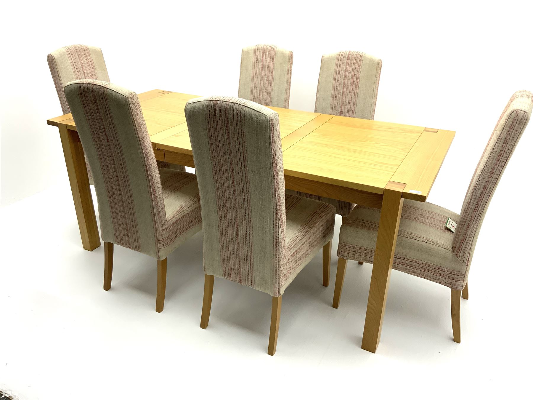 Marks & Spencer Home Sonama light oak extending dining table with leaf and six high back chairs with