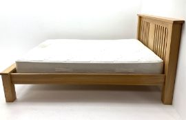 Light oak 4' 6'' bedstead with slatted headboard and 'Myer's Cameo' mattress