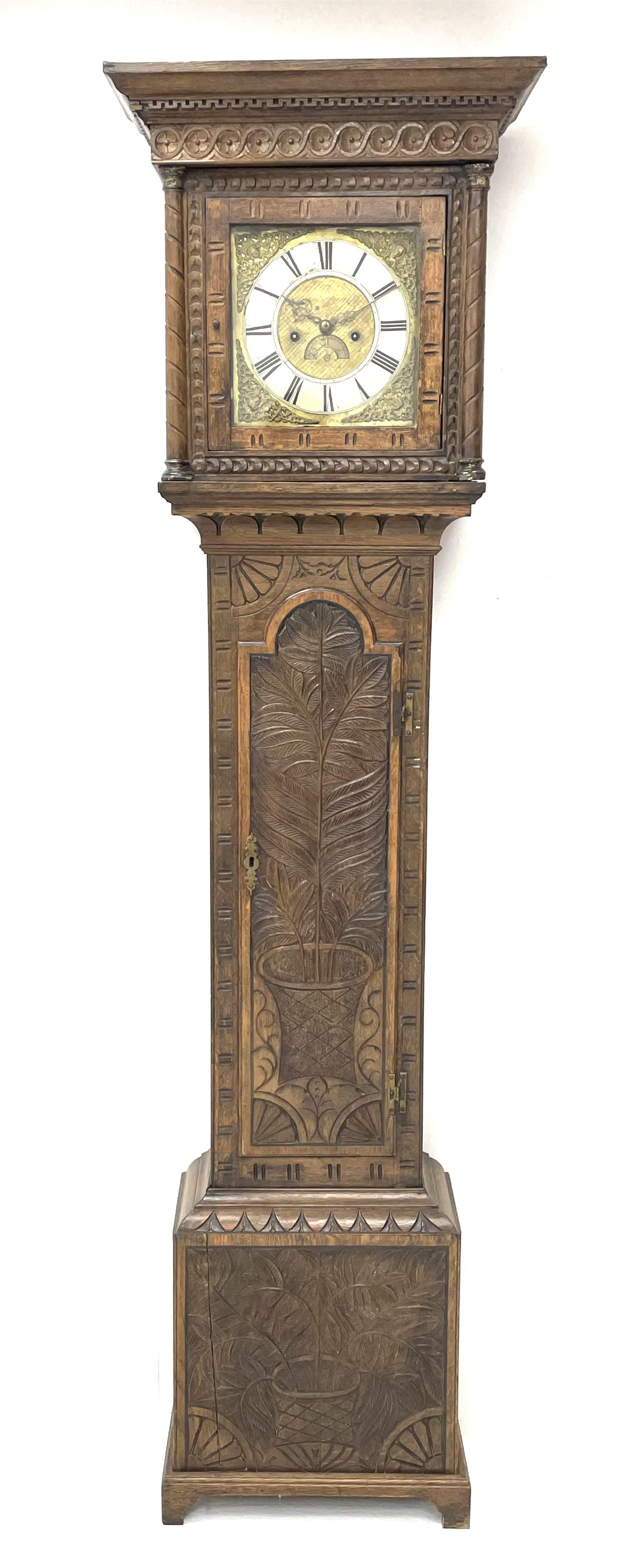 19th century carved oak longcase clock