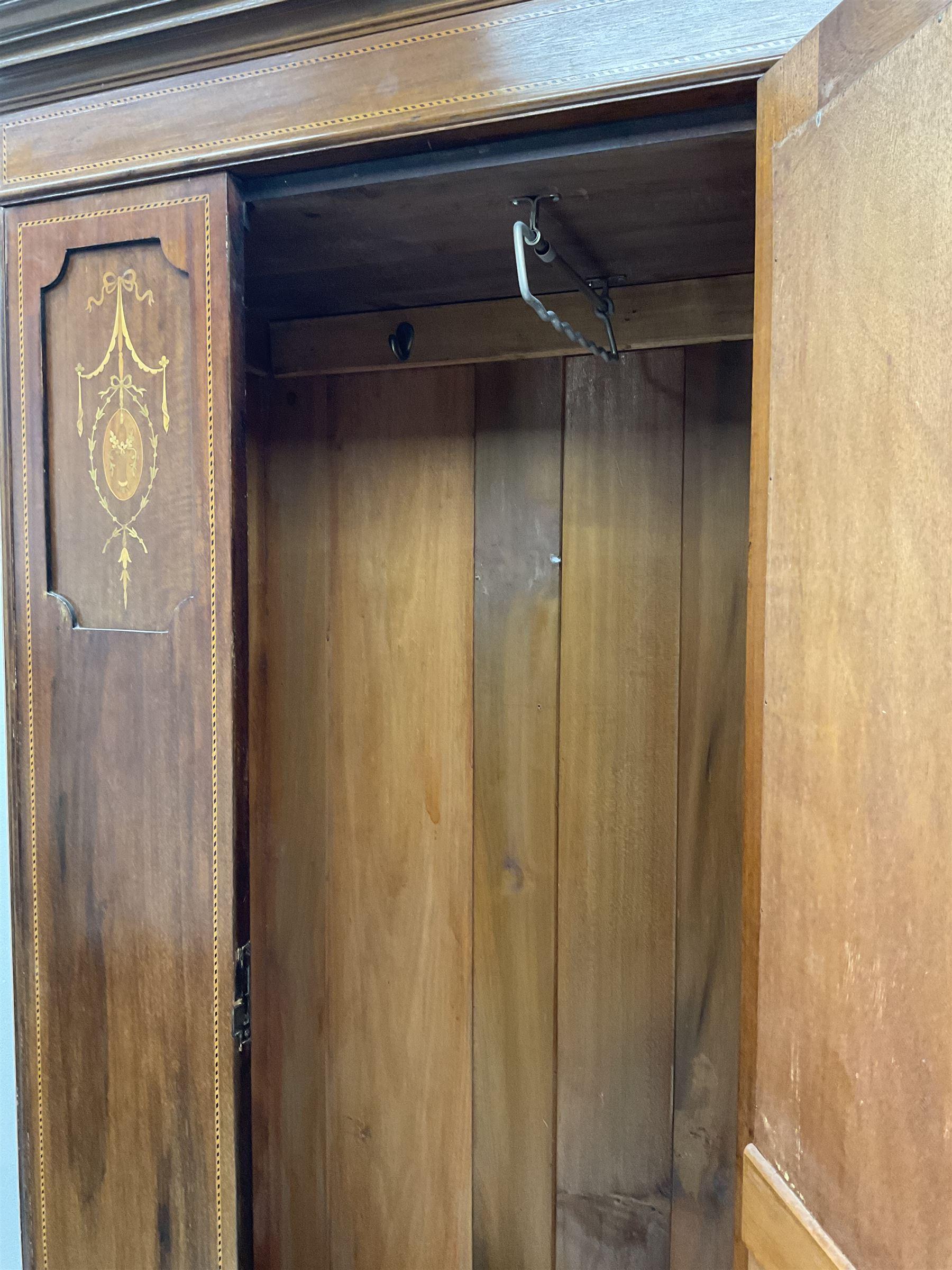 Edwardian inlaid mahogany wardrobe - Image 3 of 5
