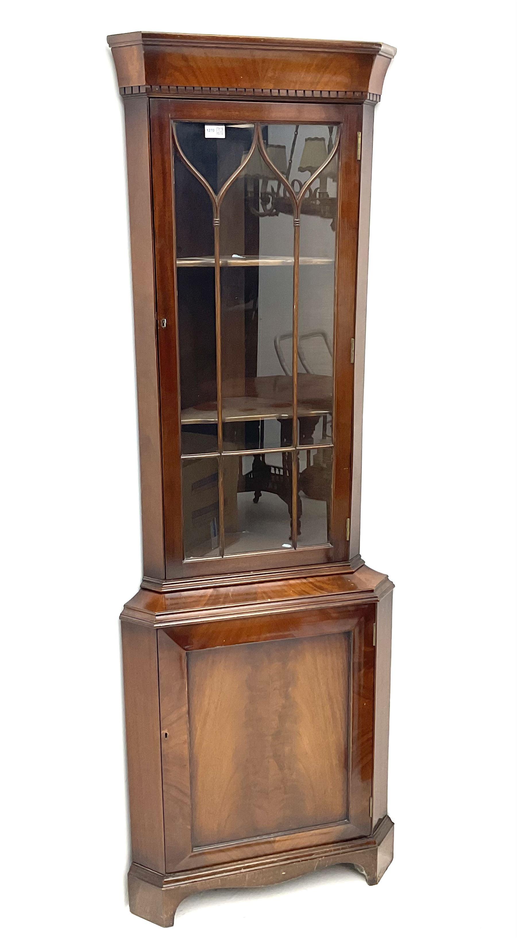 Late 20th century mahogany corner display cabinet