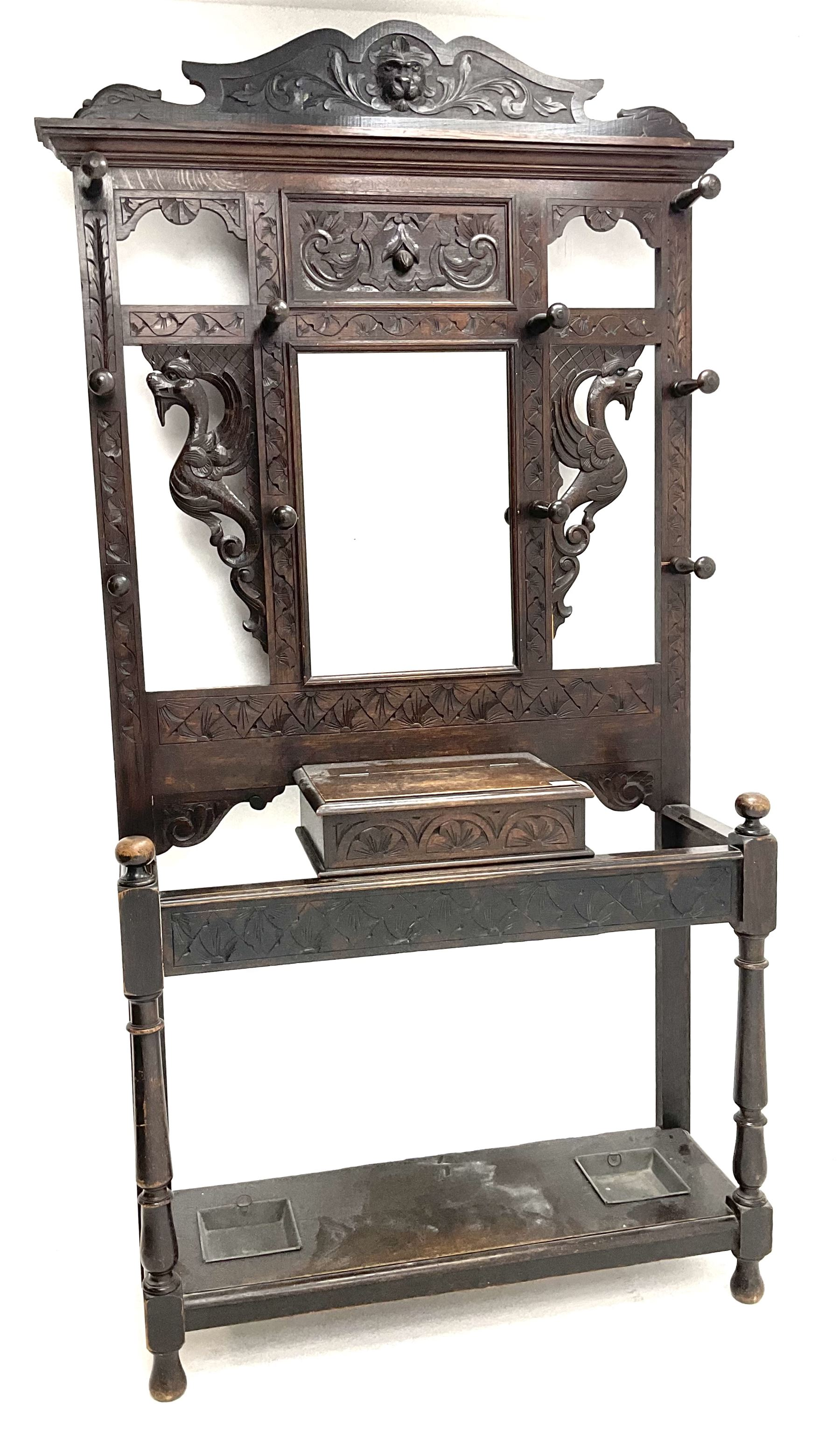 Victorian oak carved hall stand