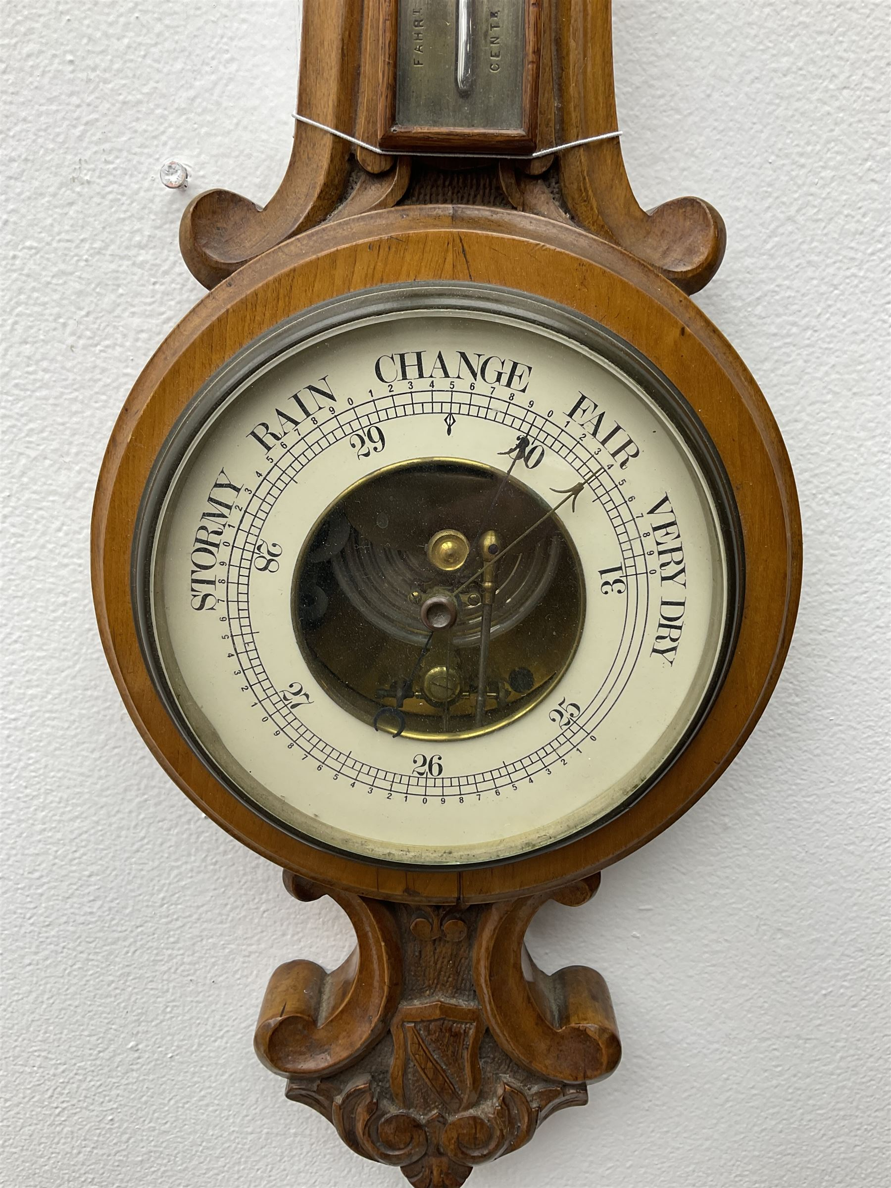 Early 20th century walnut cased aneroid barometer - Image 2 of 3