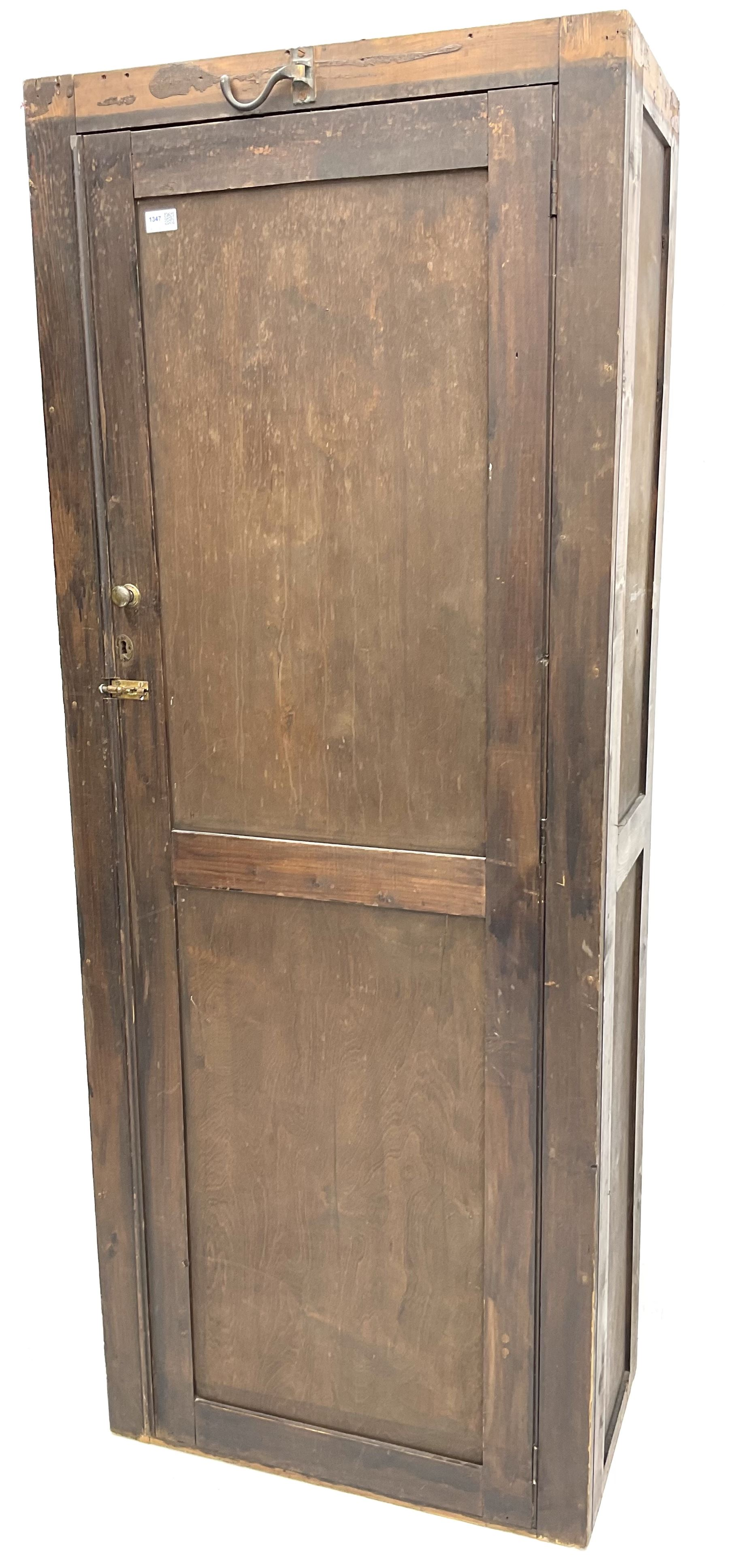 Early 20th century large stained pine school cupboard - Image 2 of 2