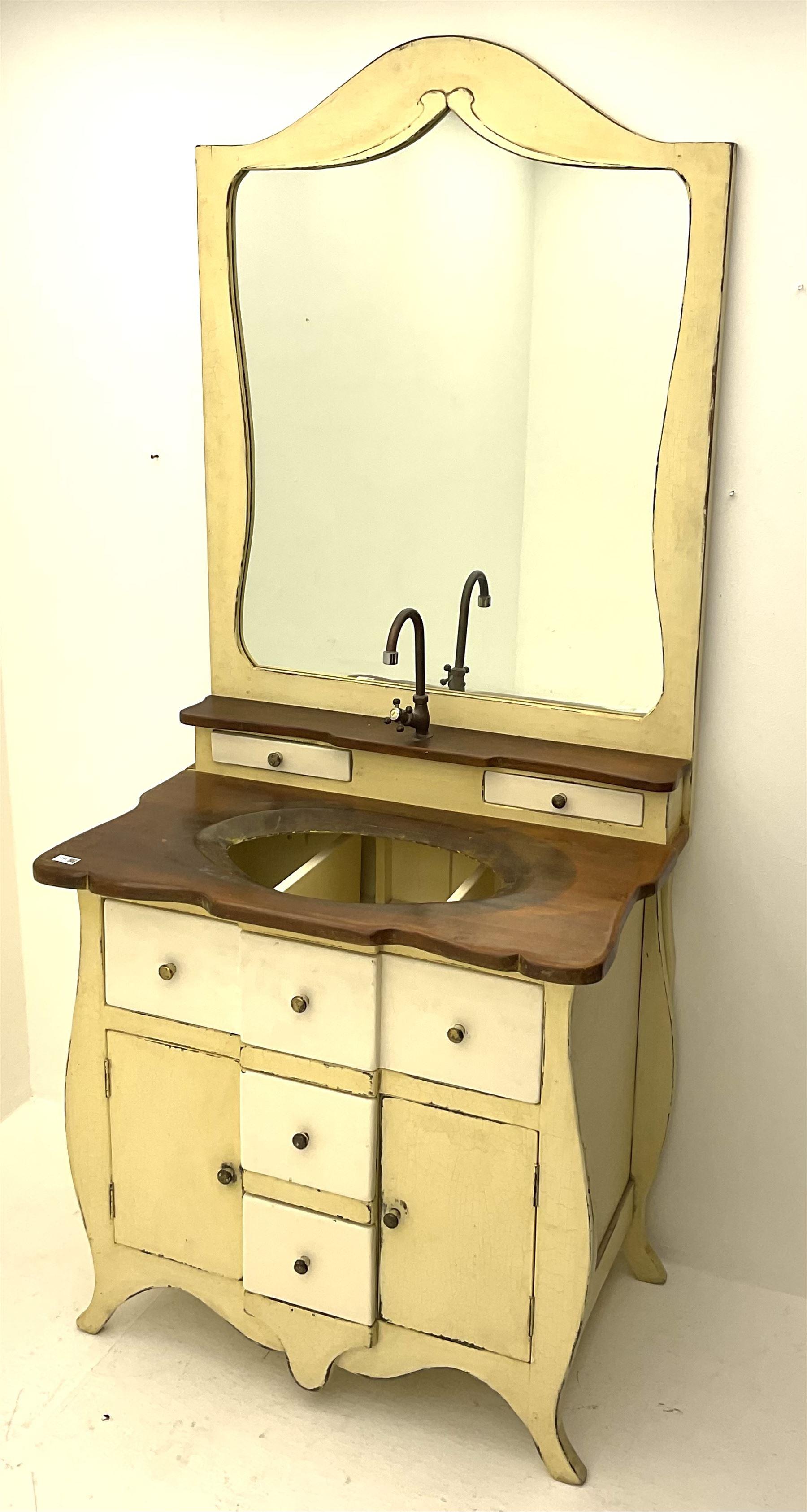 Distressed cream painted vanity unit - Image 2 of 2