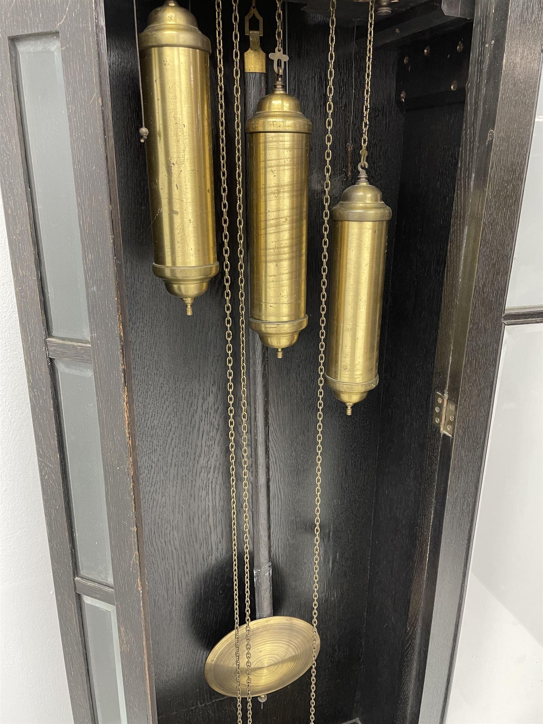 Early 20th century oak longcase clock - Image 2 of 9