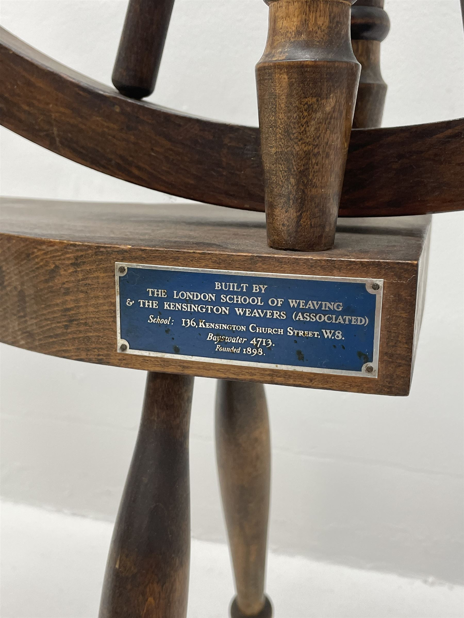 Early 20th century stained beech spinning wheel - Image 2 of 5