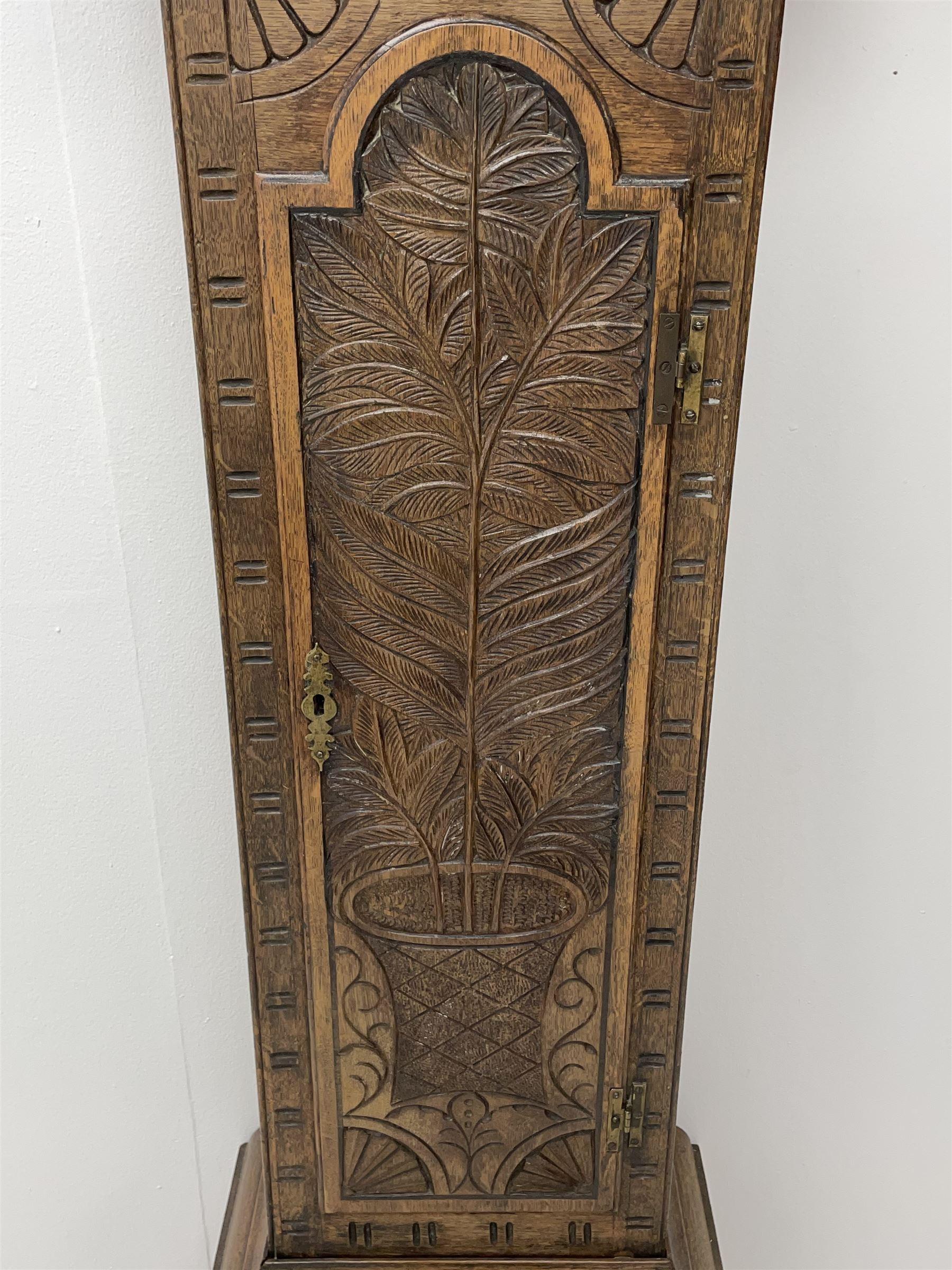 19th century carved oak longcase clock - Image 3 of 10