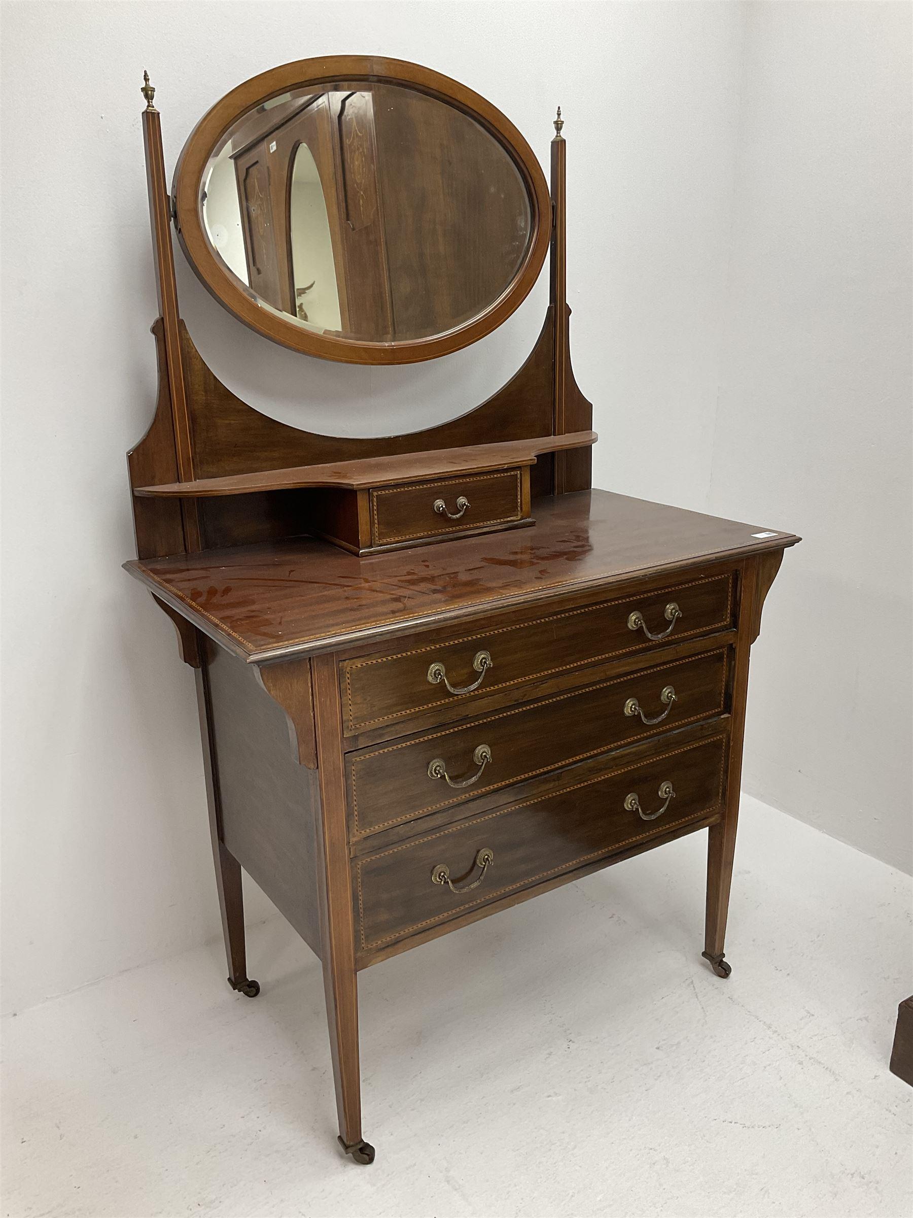 Edwardian inlaid mahogany wardrobe - Image 2 of 5
