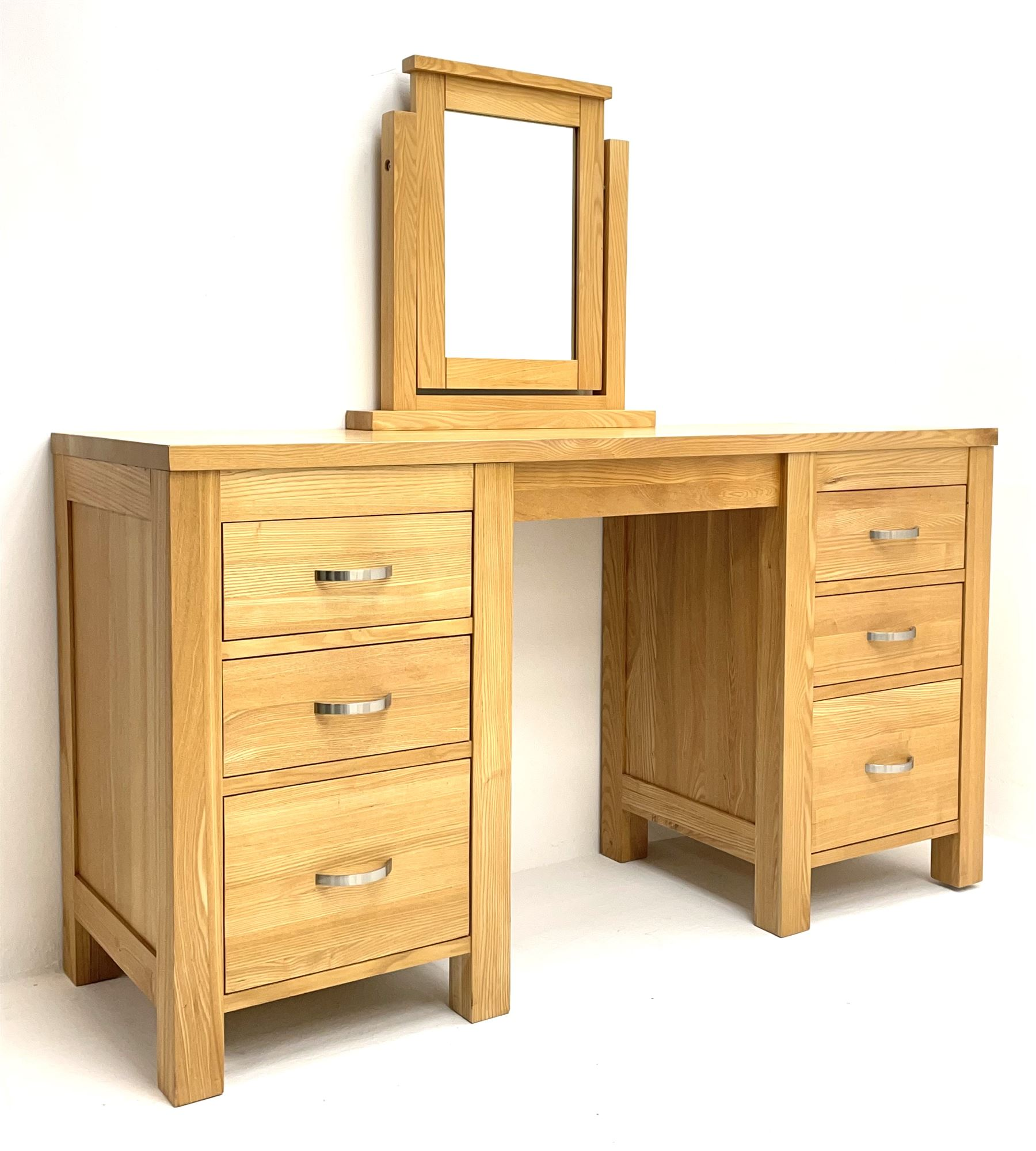 Light oak dressing table with mirror