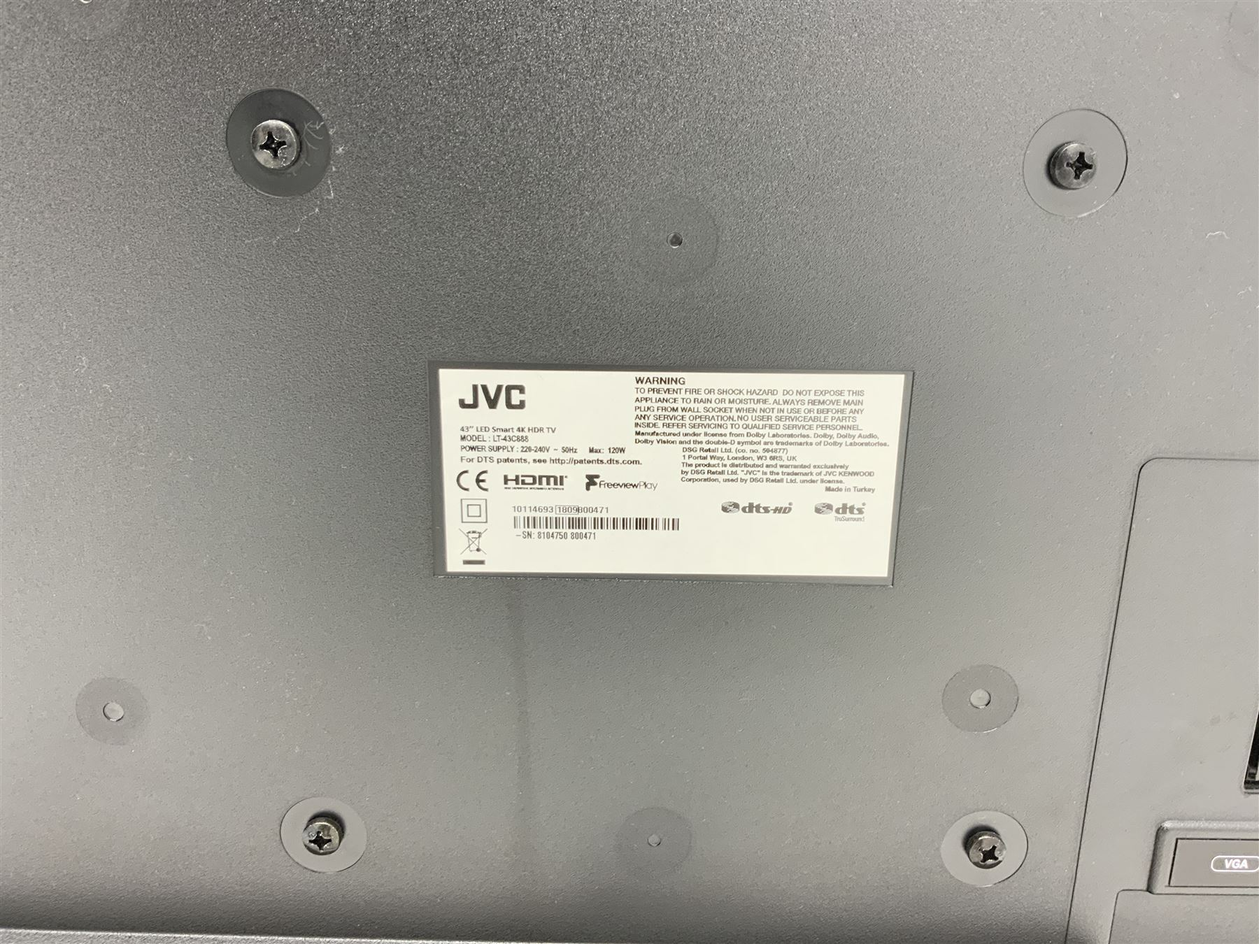JVC television 43� LED Smart 4K HDR TV - Image 2 of 2