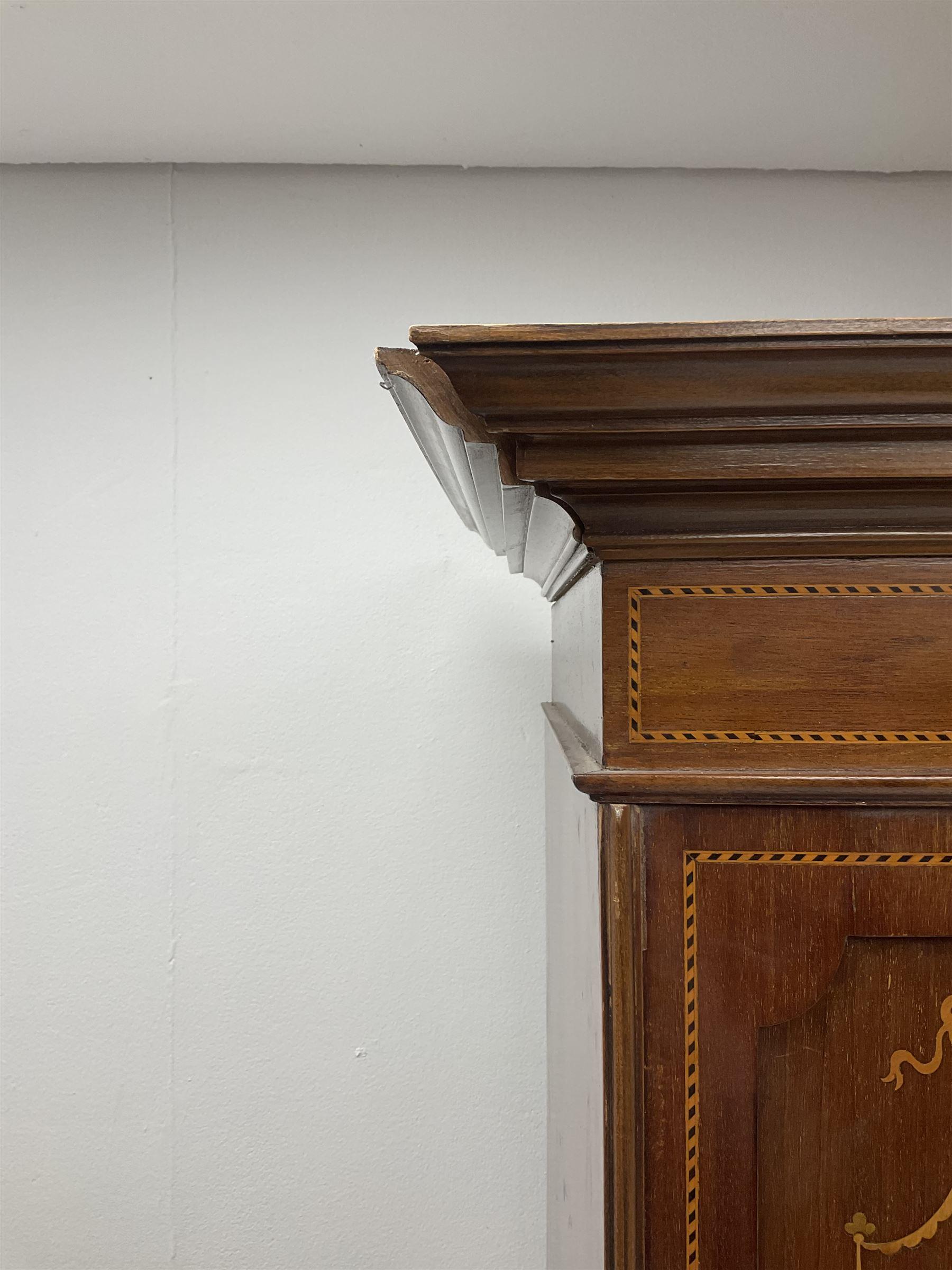 Edwardian inlaid mahogany wardrobe - Image 4 of 5