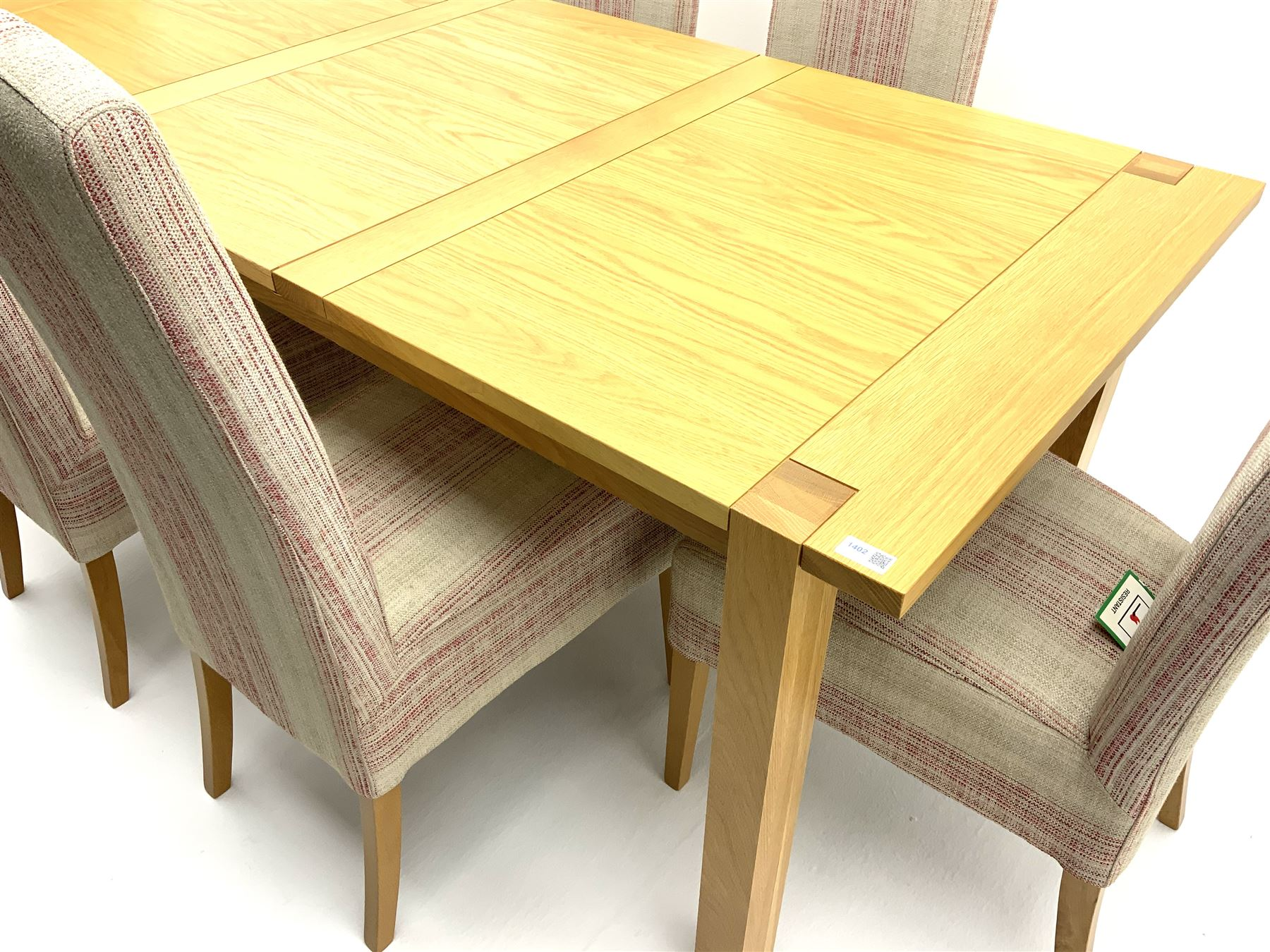 Marks & Spencer Home Sonama light oak extending dining table with leaf and six high back chairs with - Image 2 of 3