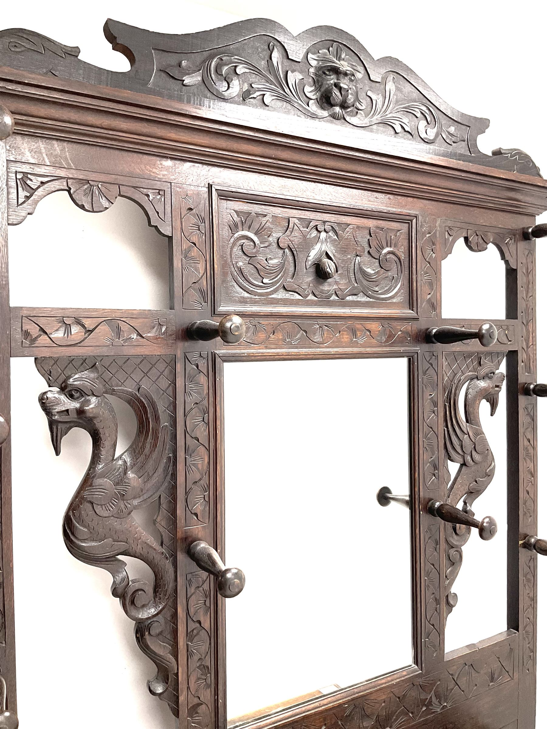 Victorian oak carved hall stand - Image 2 of 3