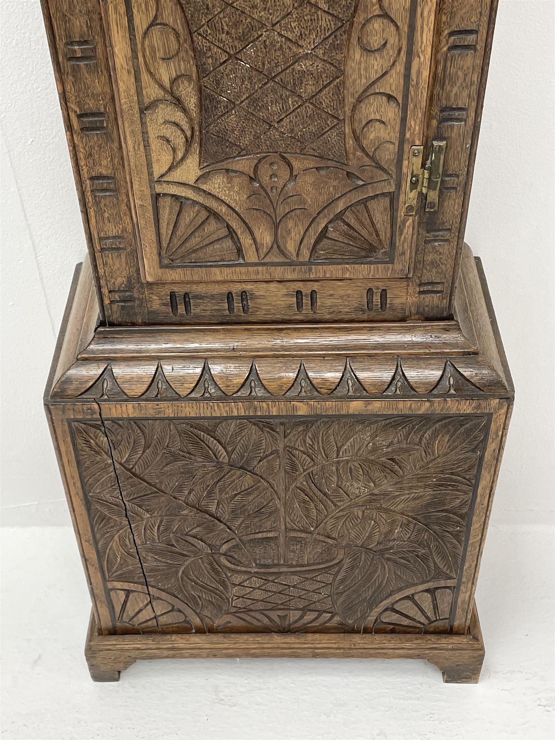 19th century carved oak longcase clock - Image 7 of 10