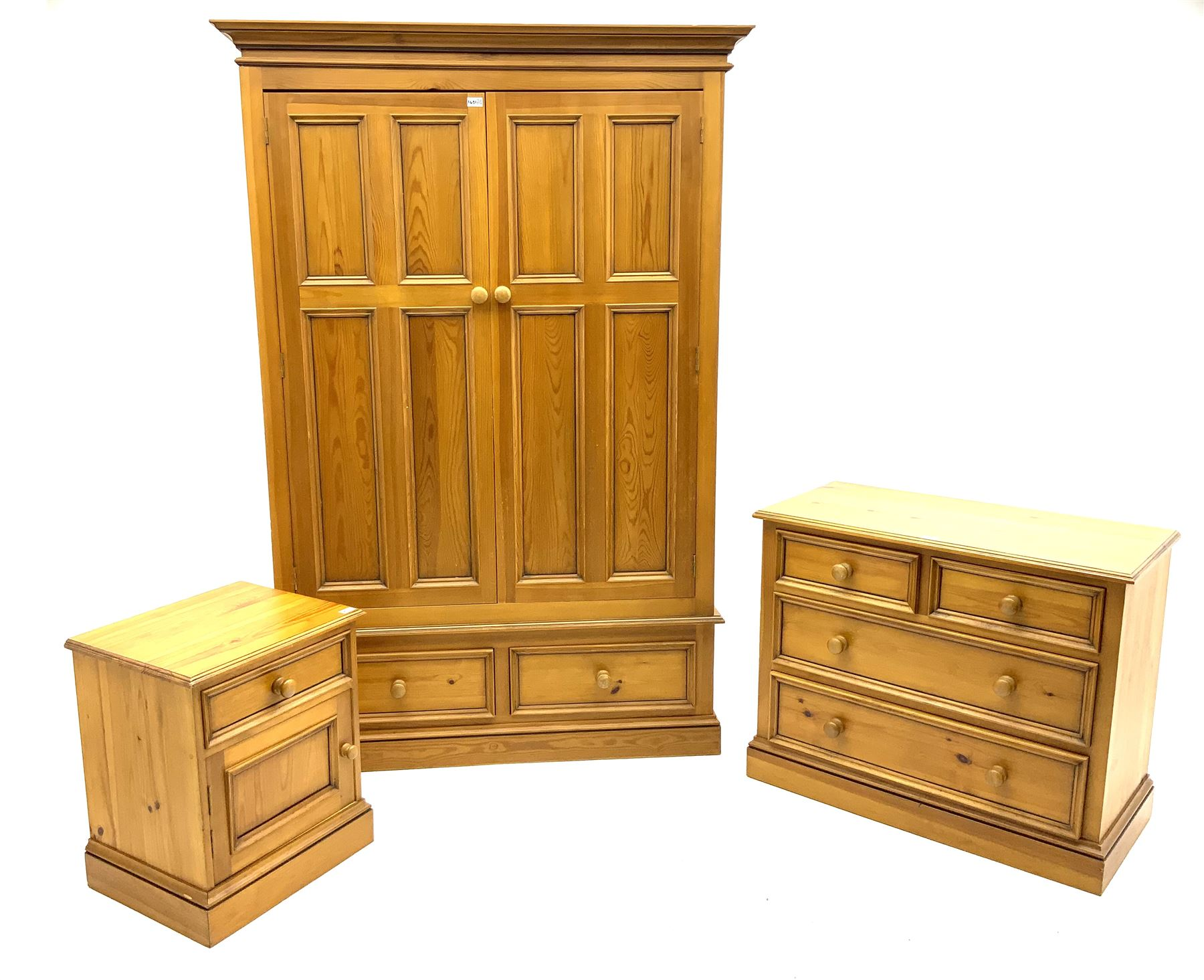 Polished pine bedroom set - double wardrobe fitted with two drawers (W135cm