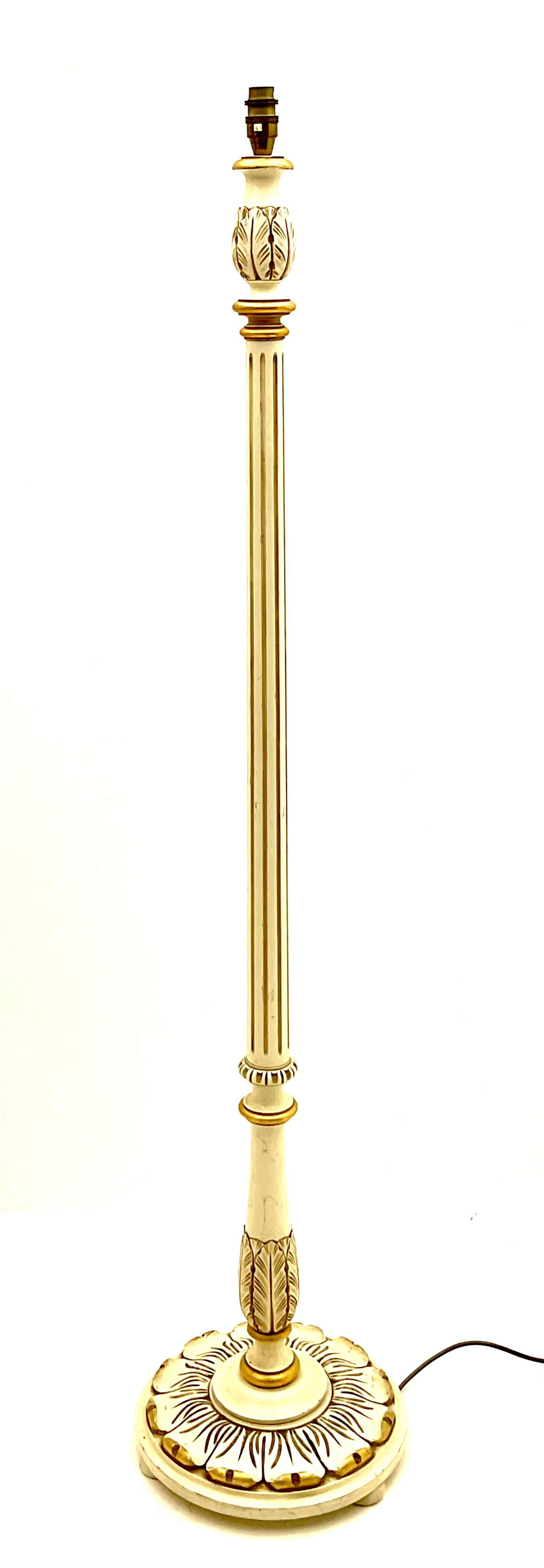 Late 20th century cream and gilt standard lamp