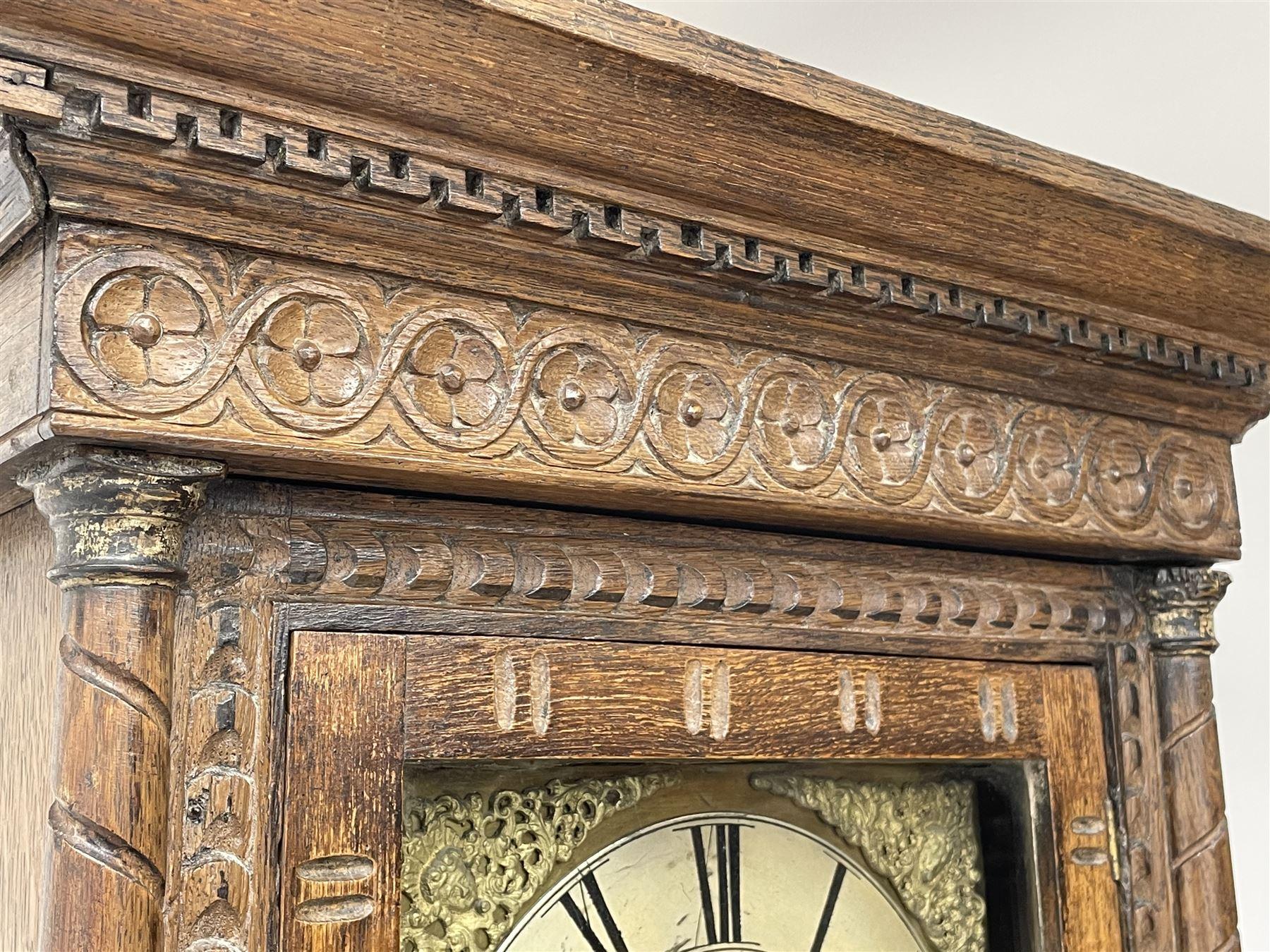 19th century carved oak longcase clock - Image 6 of 10