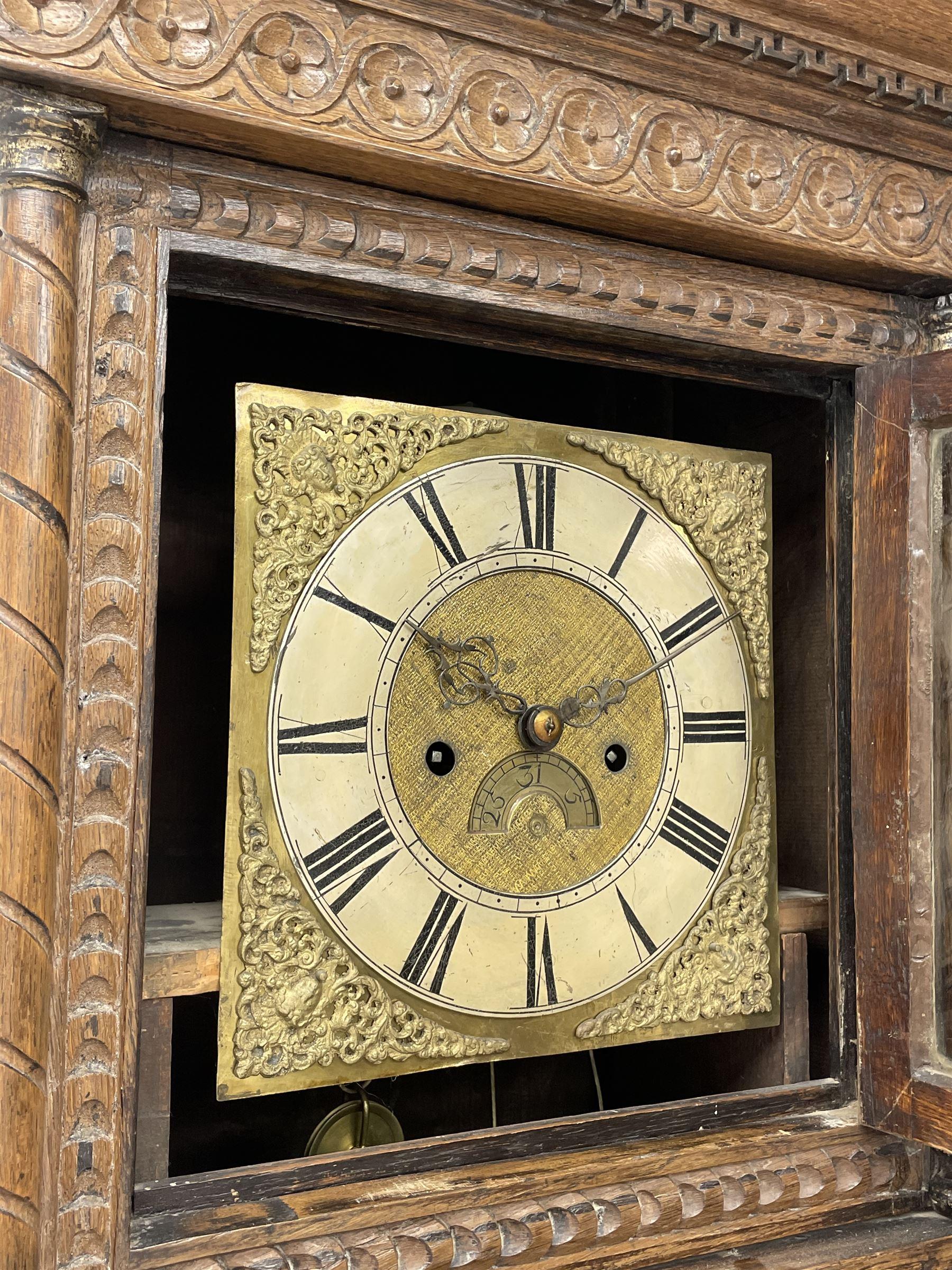 19th century carved oak longcase clock - Image 5 of 10