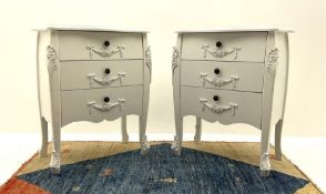 Pair of French style white painted chests fitted with three long drawers