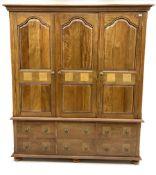 Barker and Stonehouse mango wood and flagstone triple wardrobe