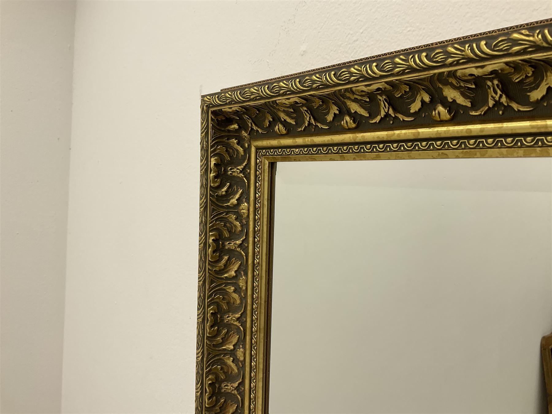 Rectangular ribbed gilt framed bevelled edge wall mirror and a rectangular wall mirror in swag frame - Image 2 of 3