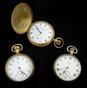 Two American open face lever pocket watches by Waltham