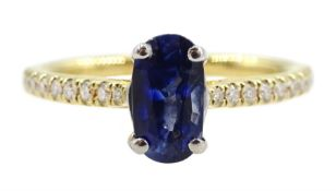 18ct gold oval sapphire ring