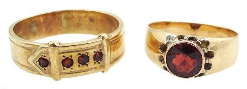 9ct gold garnet buckle design ring