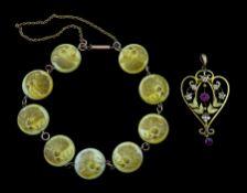 Victorian gold ivory link bracelet
