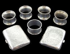 Two silver cigarette cases and five silver napkin rings