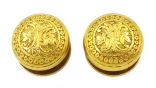 Pair of 18ct gold shirt studs with engraved decoration