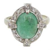 White gold Art Deco style cabochon emerald and diamond ring