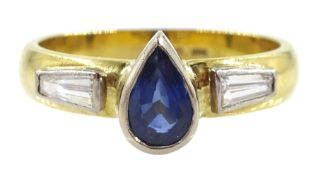 18ct gold pear shape sapphire and tapered baguette diamond ring