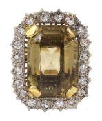 Gold emerald cut citrine/smoky quartz and diamond ring