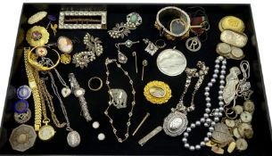 Collection of Victorian and later jewellery including gold clear paste stone necklace