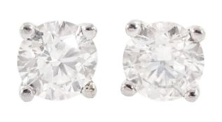 Pair of 18ct white gold diamond stud earrings