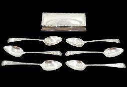 Set of six George III silver teaspoons