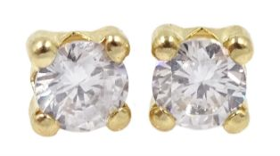 Pair of 9ct gold single stone cubic zirconia stud earrings