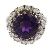 18ct white gold round amethyst and diamond cluster ring
